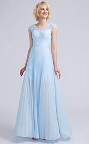 Lanting Bride Floor-length Chiffon / Lace Bridesmaid Dress Sheath / Column V-neck with Lace / Draping