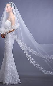 Véus de Noiva Uma Camada Véu Capela Borda com aplicação de Renda Tule Branco / Vermelho Branco / Vermelho