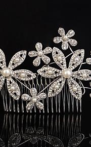Femme Strass / Cristal / Alliage / Imitation de perle Casque-Mariage / Occasion spéciale / Extérieur Peigne 1 Pièce Clair / Blanc Rond 19