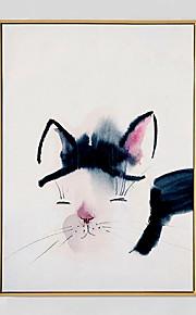 מצויר ביד מופשט / בעלי חיים ציורי שמן,מודרני פנל אחד בד ציור שמן צבוע-Hang For קישוט הבית