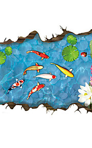 3D Wall Stickers Wall Decals, Fashion Chinese Style Koi Pond PVC Wall Sticker