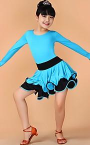Latin Dance Dresses Children's Performance Chinlon Draped 1 Piece Black / Blue / Fuchsia