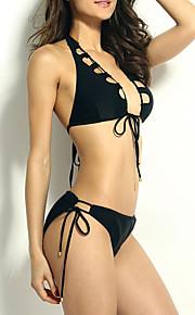 De las mujeres Bikini-Color ÚnicoHalter-Fibra de Carbono de Bambú