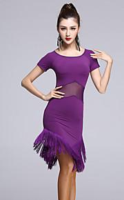 Latin Dance Dresses Women's Performance Rayon / Tulle Tassel(s) 1 Piece  Latin Dance Short Sleeve Natural Dress