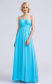 Lanting Bride Floor-length Chiffon Bridesmaid Dress A-line Spaghetti Straps with Draping / Ruching