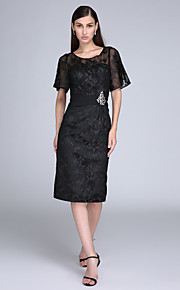 TS Couture® Cocktail Party Dress Sheath / Column Jewel Knee-length Lace with Lace / Crystal Detailing