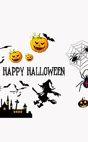 Happy Halloween Holiday Pumpkin Wall Stickers Vintage DIY Living Room Glass Wall Decals