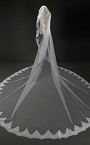 Véus de Noiva Uma Camada Véu Catedral Borda com aplicação de Renda Tule / Renda Marfim Marfim