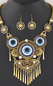 Women's European Style Fashion Simple Vintage Metal Tassel Exaggerated Eye Necklace Earrings Set