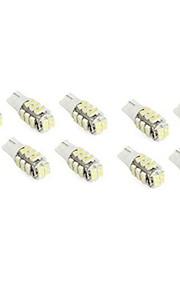 10stk t10 28 smd3528 hvid farve bil høj effekt førte kile pære lampe (DC12V)
