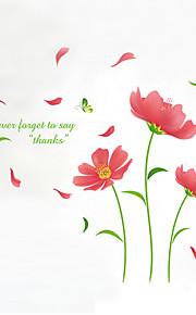 Цветы Наклейки Простые наклейки Декоративные наклейки на стены,PVC материал Влажная чистка / Съемная / Положение регулируетсяУкрашение