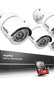 sannce® 4ch ahd dvr 4 stuks 720p ir cut indoor outdoor cctv camera thuis bewaking kits CCTV-systeem ingebouwde 1TB