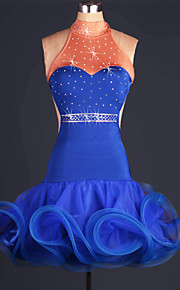 Performance Outfits Women's Performance Spandex / Organza Paillettes / Ruched 1 Piece Royal Blue Latin Dance