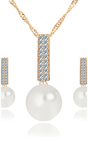Korean Style Imitation Pearl Rhinestone Alloy Earrings Necklace Set Women's Wedding Jewelry Bridesmaids Gifts