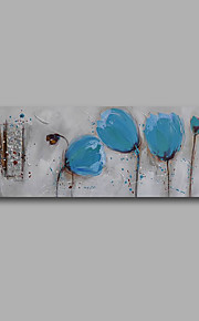 "Stretched (Ready to hang) Hand-Painted Oil Painting 48""x16"" Canvas Wall Art Modern Abstract Blue Tulips Grey"