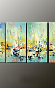 Maalattu Abstraktit maisemakuvat Moderni,4 paneeli Kanvas Hang-Painted öljymaalaus