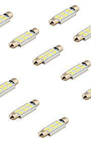 youoklight® 10stk guirlande 42mm 3w 240lm 6 x SMD 5630 førte hvidt lys afkodning bil læselampe kuppel bul (12v)