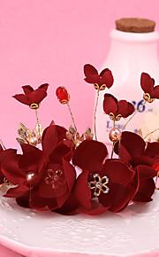 Femme / Jeune bouquetière Alliage / Tissu Casque-Mariage / Occasion spéciale Couronnes 1 Pièce Rouge Rond N/A