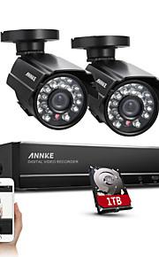 sannce® 4ch volledige 960H cctv dvr videobewaking recorder 800tvl nachtzicht weerbestendige camera's ingebouwde 1TB