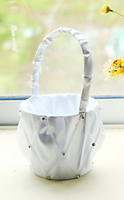 White Satin with Rhinestone Decoration Flower Basket for Wedding Party(12*12*24cm)