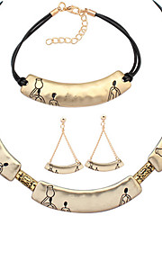 Европейский стиль мода простой металлический серп комплект серьги браслета ожерелья