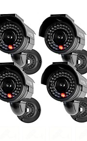 kingneo301s telecamera di sorveglianza esterna simulato l'energia solare Videocamera di sicurezza fittizia con flash LED 4pc nero