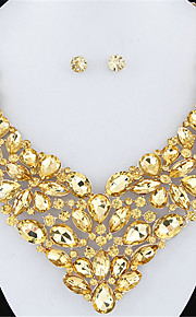 set orecchino lucido collana fiore gemma luminosa europeo di lusso del metallo di modo di stile