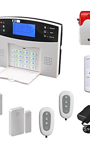 stemmen lcd trådløst husa gsm alarm system med pir dør detektor strobe sirenen sms ringe ALARME alarma sikkerhet hjem