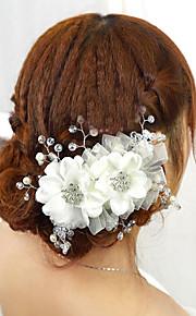Mulheres Tecido Capacete-Casamento Acessórios para Cabelos 1 Peça Vermelho / Branco Flôr 15cm