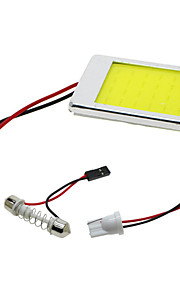 2 stuks cob auto geleid slinger t10 BA9S paneel licht 24 chips / smd auto lezen binnenverlichting witte aluminium behuizing (12V)