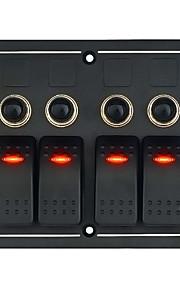 12-24V auto, rv 3 pins vier single-lamp schakelaar metalen paneel samenstelling