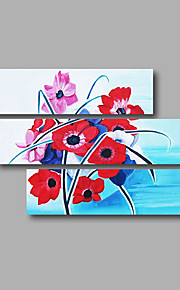 """Stretched (Ready to hang) Hand-Painted Oil Painting 48""""x36"""" Canvas Wall Art Modern Abstract Red Pink Blue"""