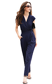 JoanneKitten Women's Sexy Deep V Neck Sleeveless Long Jumpsuit
