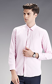 Camisa De los hombres Un Color Casual-Algodón-Manga Larga-Azul / Rosa