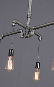 4 Heads Amercian Vintage Industrial Water Pipe Pendant Lamp for the Kitchen Room / Hallyway / Entry Chandelier Light