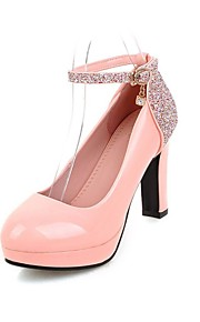 Women's Heels Summer / Fall Heels / Round Toe Patent Leather Office & Career / Casual Chunky Heel Buckle Black / Pink /