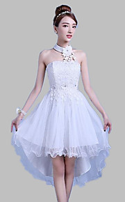 Asymmetrical Satin / Tulle Bridesmaid Dress Ball Gown Halter with Lace
