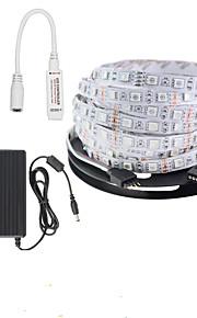 KWB 5 M 300 5050 SMD Rouge Vert Bleu Découpable / Télécommande / Intensité Réglable / Connectible / Couleurs changeantes WBarrette