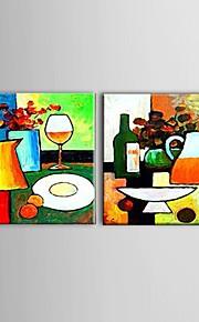 Hånd-malede Abstrakt / Still Life / Afslapning Oliemalerier,Moderne / Europæisk Stil To Paneler Canvas Hang-Painted Oliemaleri For Hjem