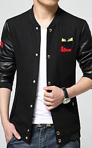 남성의 자켓 프린트 / 퓨어 / 패치 워크 긴 소매 캐쥬얼 면 / 폴리에스테르,블랙