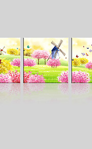 JAMMORY Canvas Set Landscape ,Three Panels Gallery Wrapped, Ready To Hang Vertical Print No Frame Colored Color Garden