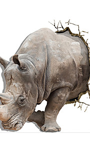 58*63.8CM 3 D Wall Stickers Three-Dimensional Mural The Sitting Room The Bedroom Wall Decoration Rhino Stickers