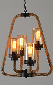 American Industrial Hemp Rope Glass lamp Shade Candle Chandelier