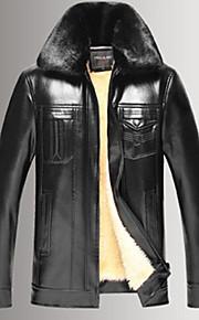 남성의 자켓 퓨어 긴 소매 캐쥬얼 PU,블랙 / 브라운