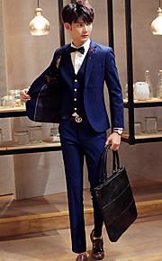남성의 세트 퓨어 긴 소매 정장 면 블루 / 레드