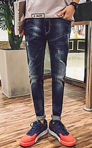 Ensfarvet Mænds Fritid Pæne bukser Bomuld Blå