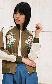 Women's Casual/Daily Street chic Fall / Winter Jackets,Embroidered Stand Long Sleeve Green Cotton Medium