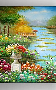 Hand Painted Oil Painting Garden Scenery with Stretched Framed Ready to Hang