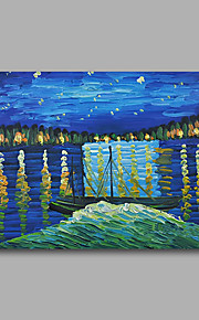 Stretched (Ready to hang) Hand-Painted Oil Painting Canvas Abstract Van Gogh repro Starry Night Rhone Mini Size