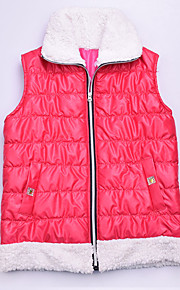 Women's Patchwork Pink Padded Coat,Simple Shirt Collar Sleeveless